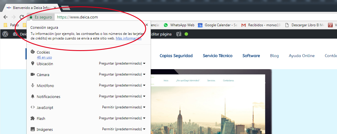 ¿Por qué pone NO ES SEGURO en mi Web desde Google Chrome?