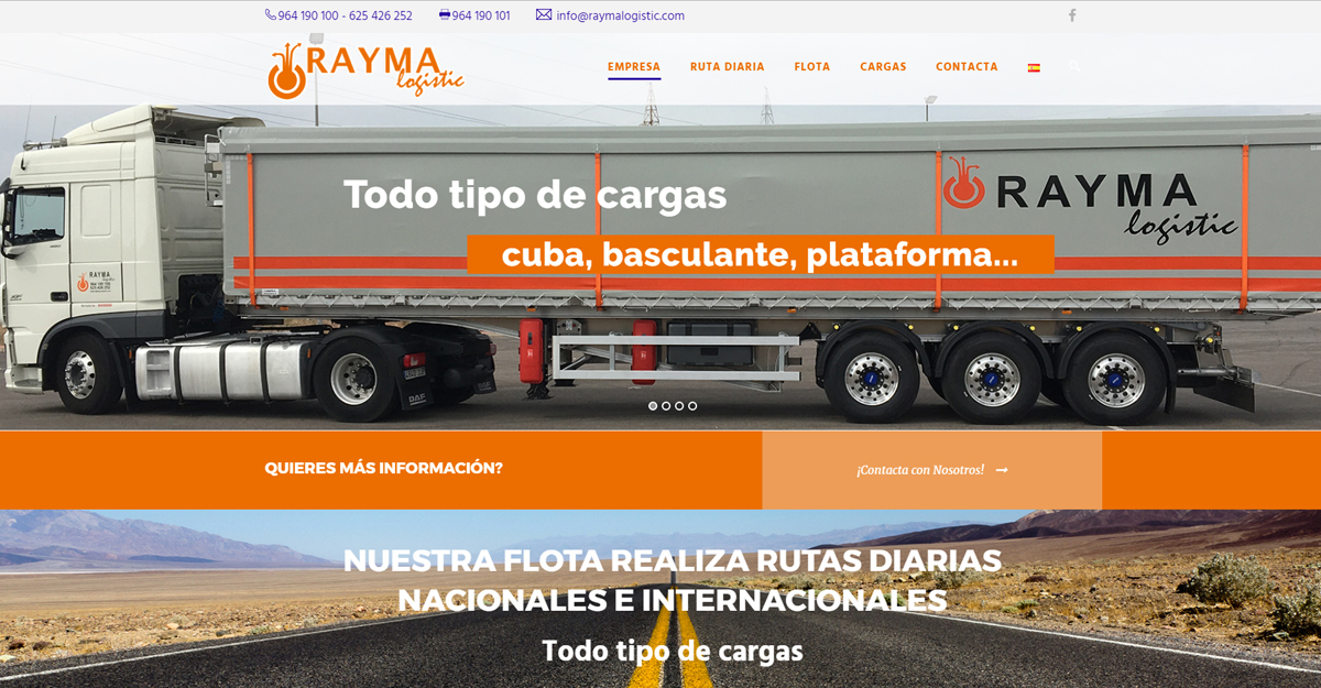 Nueva Web www.raymalogistic.com, diseño Parallax para móvil +SEO +Autoadministrable