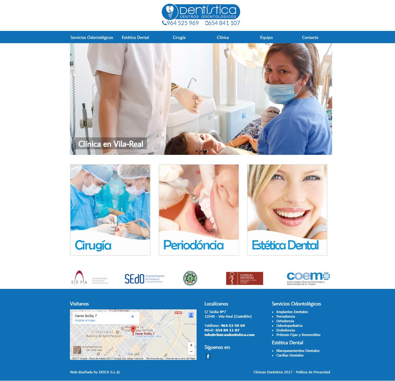 Nueva Web www.clinicasdentistica.com, diseño Parallax para móvil +SEO +Autoadministrable