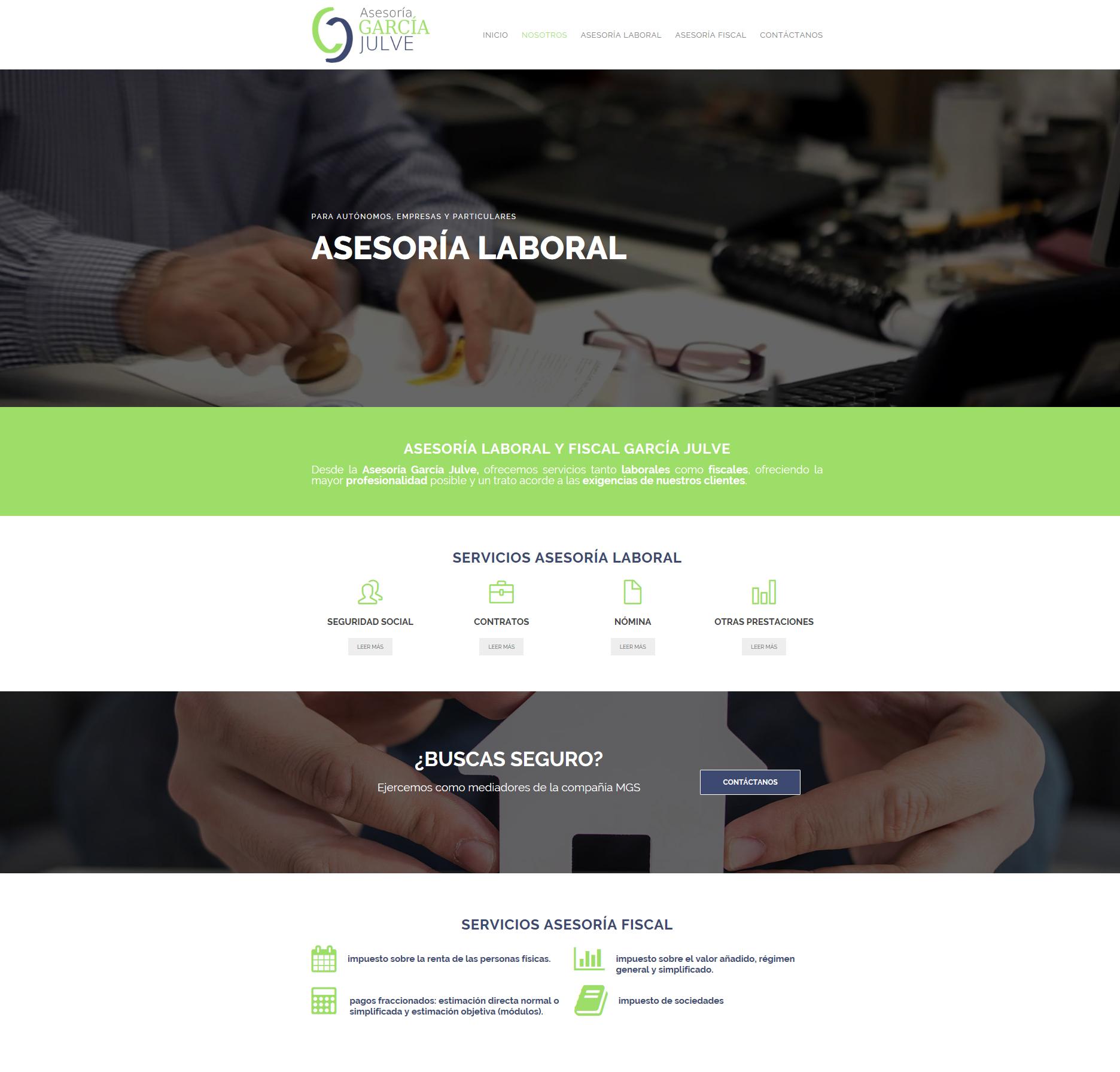 Nueva y moderna web de asesoría www.garciajulve.com con +Servicios+Autoadministrable + Parallax