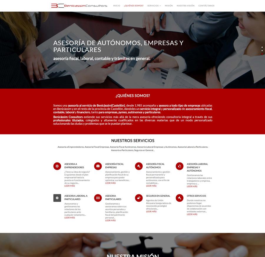 Nueva web www.beniconsultors.com con sistema +Autoadministrable +Servicios + Parallax
