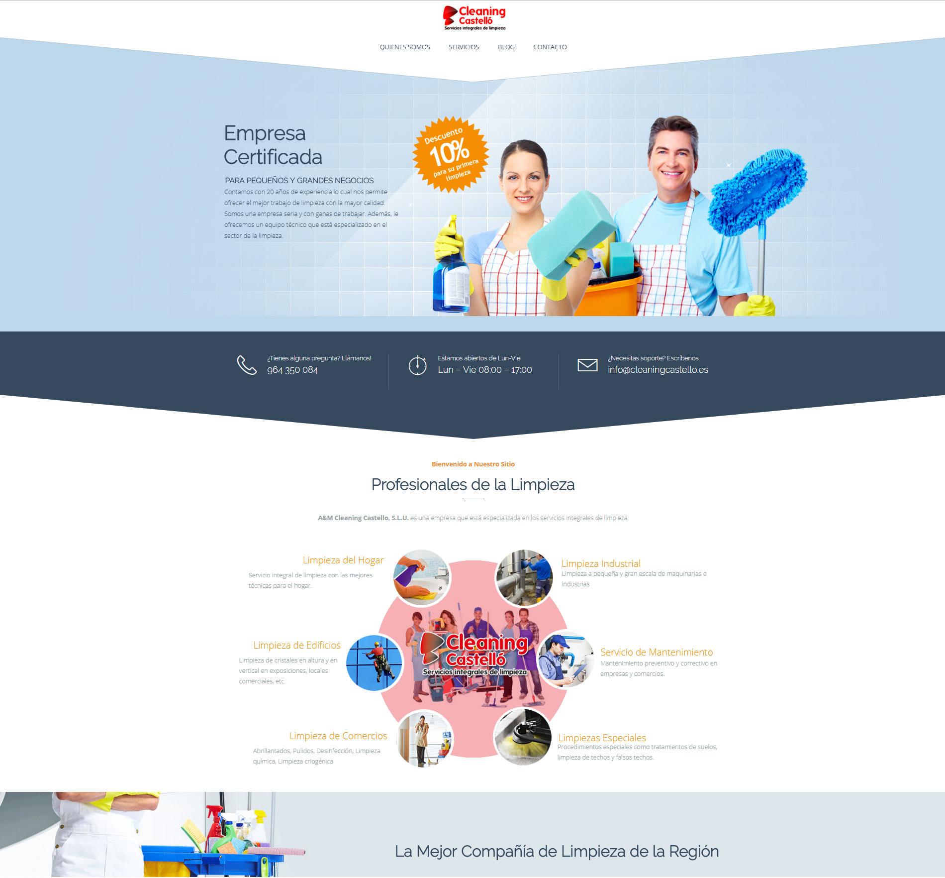Nueva y moderna web de asesoría https://cleaningcastello.es/ con +Autoadministrable + Parallax