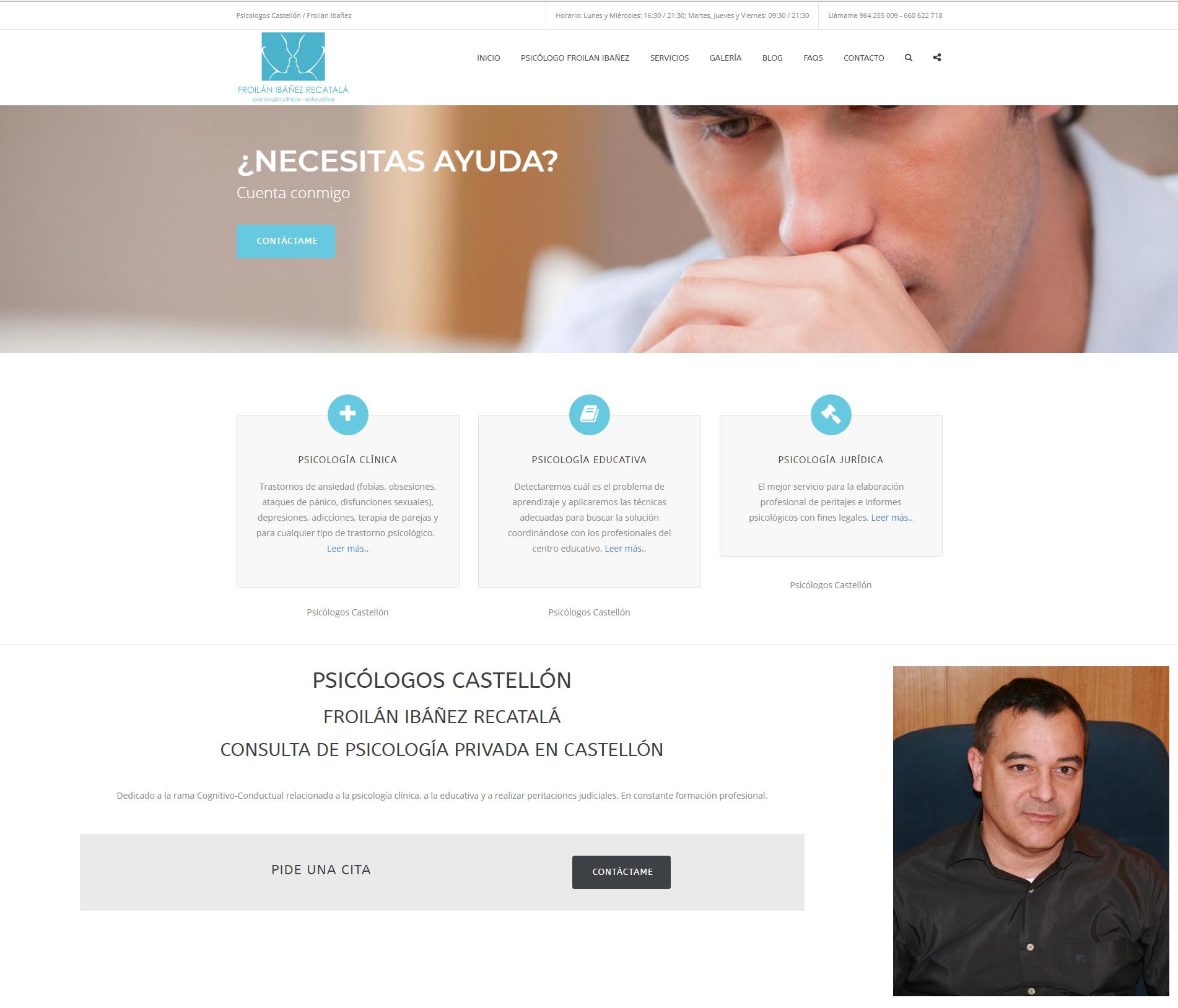 Psicólogo Froilán Ibáñez Recatalá en Castellón :: Nueva web de Psicólogos en Castellón  www.psicologoscastellonfroilan.com