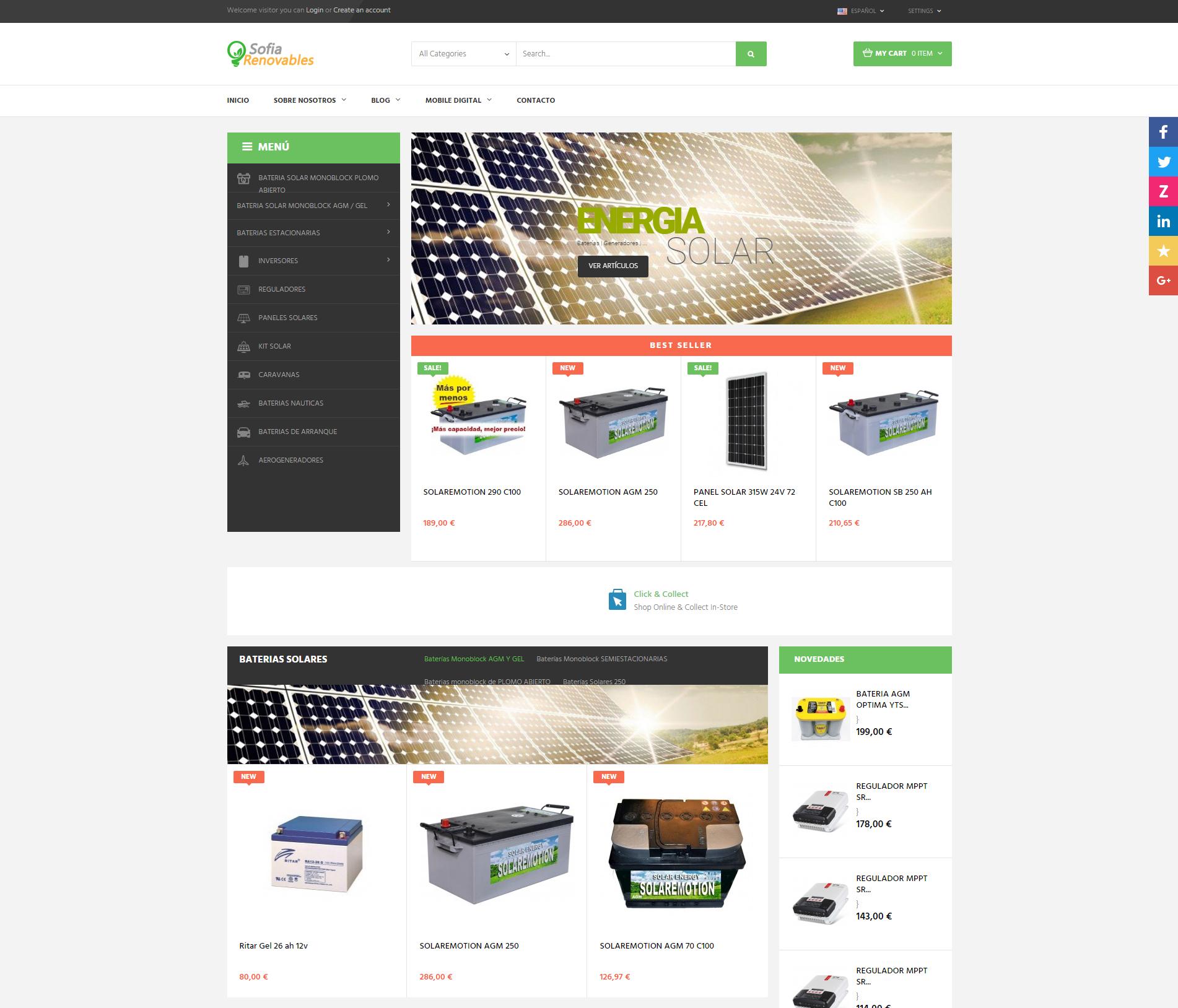 Nueva Tienda Online de baterías y placas solares en Castellón http://sofiarenovables.com/ +Autoadministrable +Tienda Online