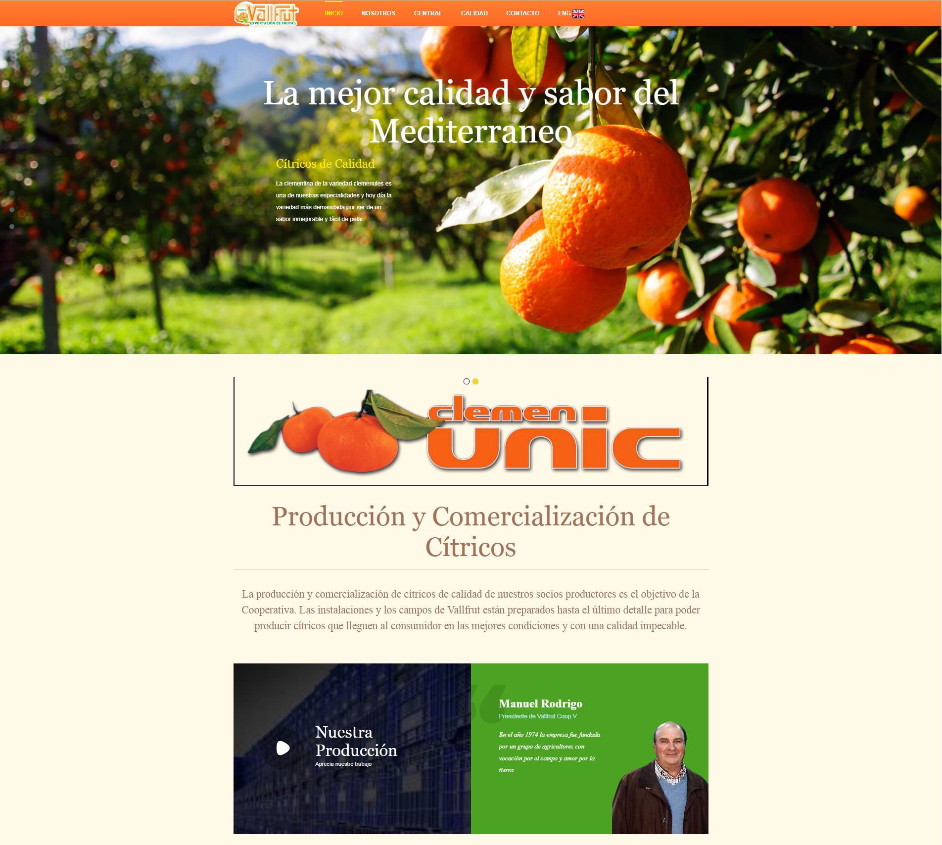 Nueva Web de Citricos en La Vall D'Uixó http://vallfrut.com/ +Autoadministrable +Tienda Online